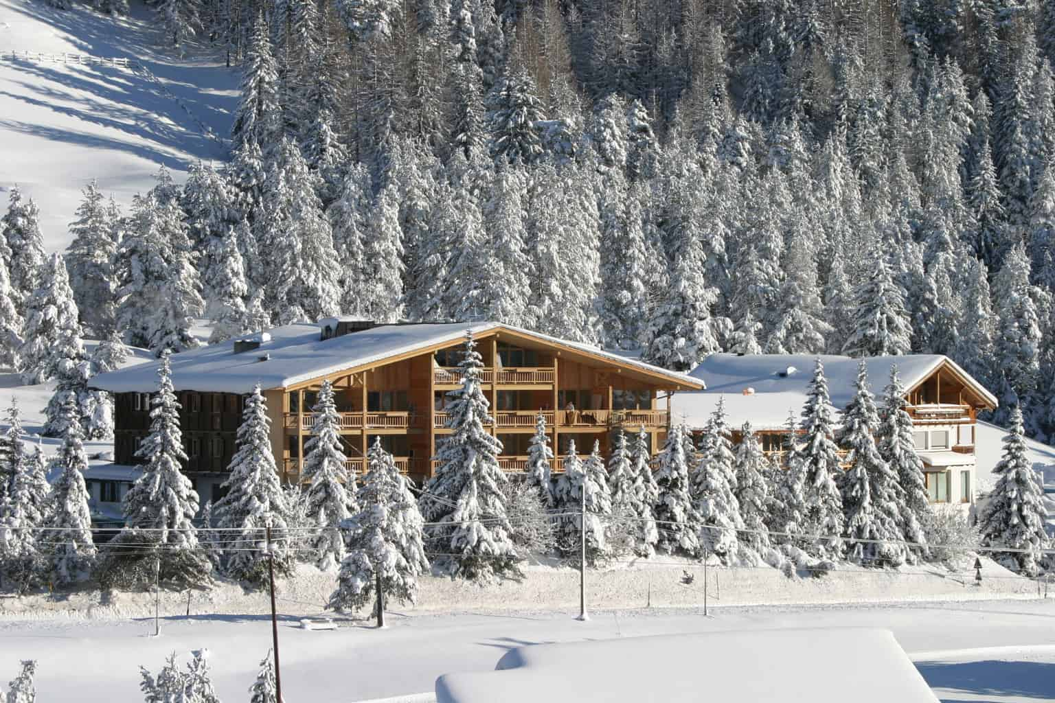 Hotel Gran Paradiso surrounded by snowy trees