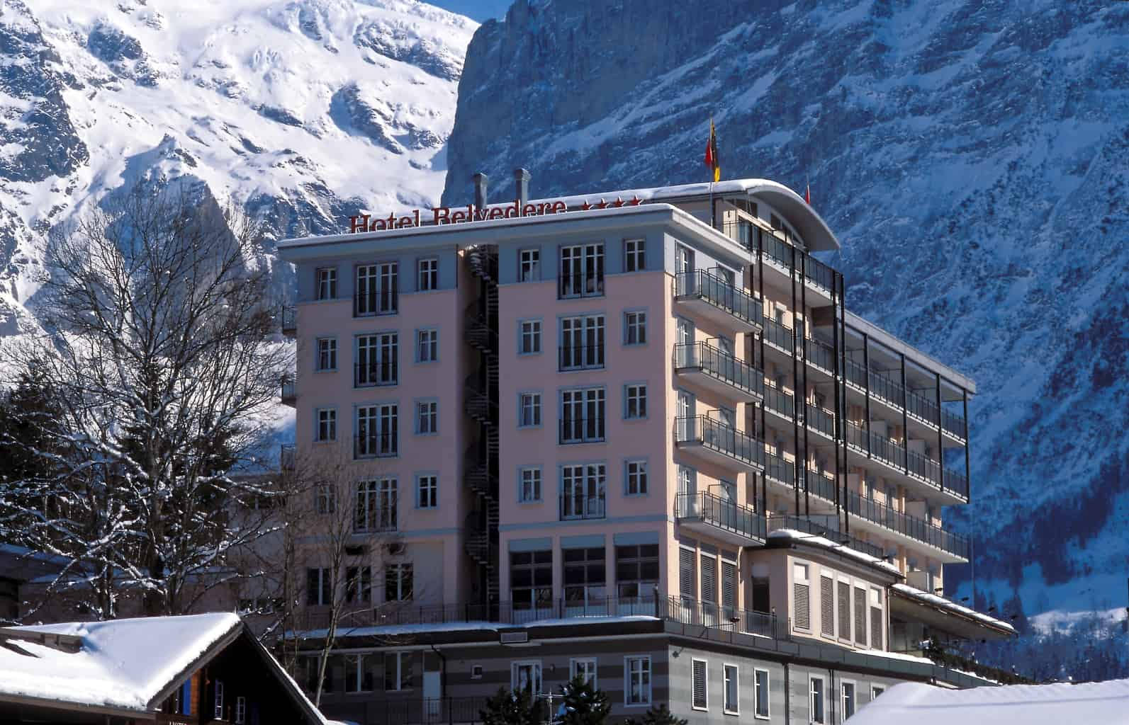 Hotel Belvedere location under the Eiger