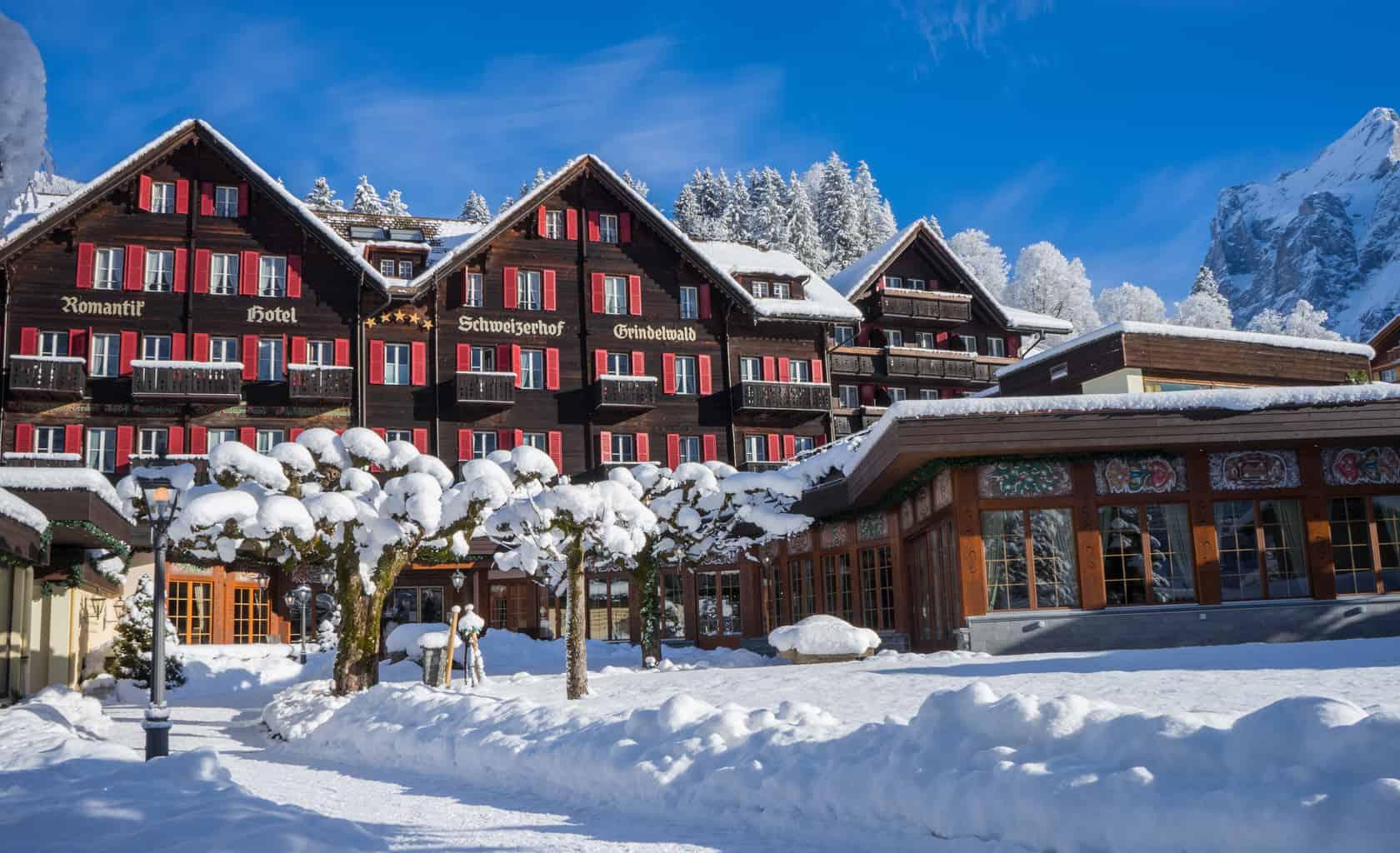 The Romantik Schweizerhof Grindelwald in the snow