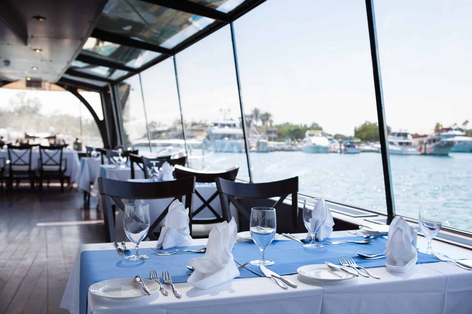 Dining overlooking the water