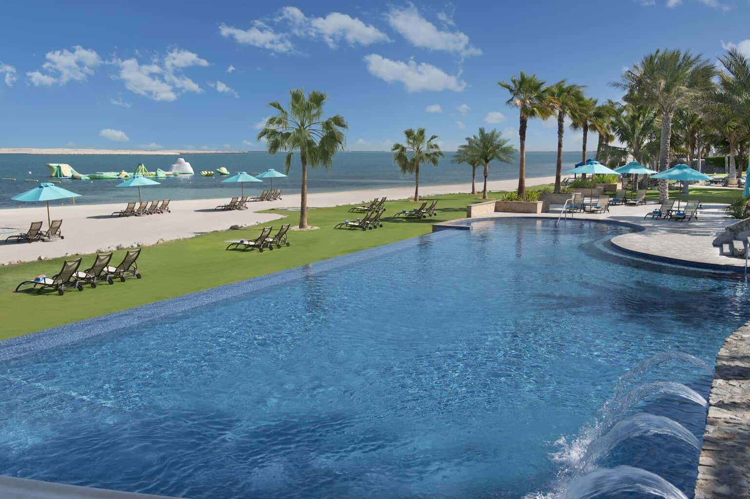 Beachfront pool with palm trees and ocean view