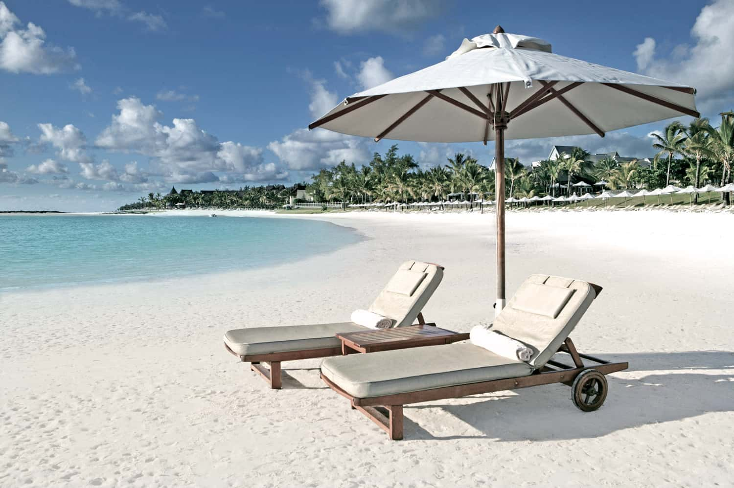 Sun Loungers on the white sand beach