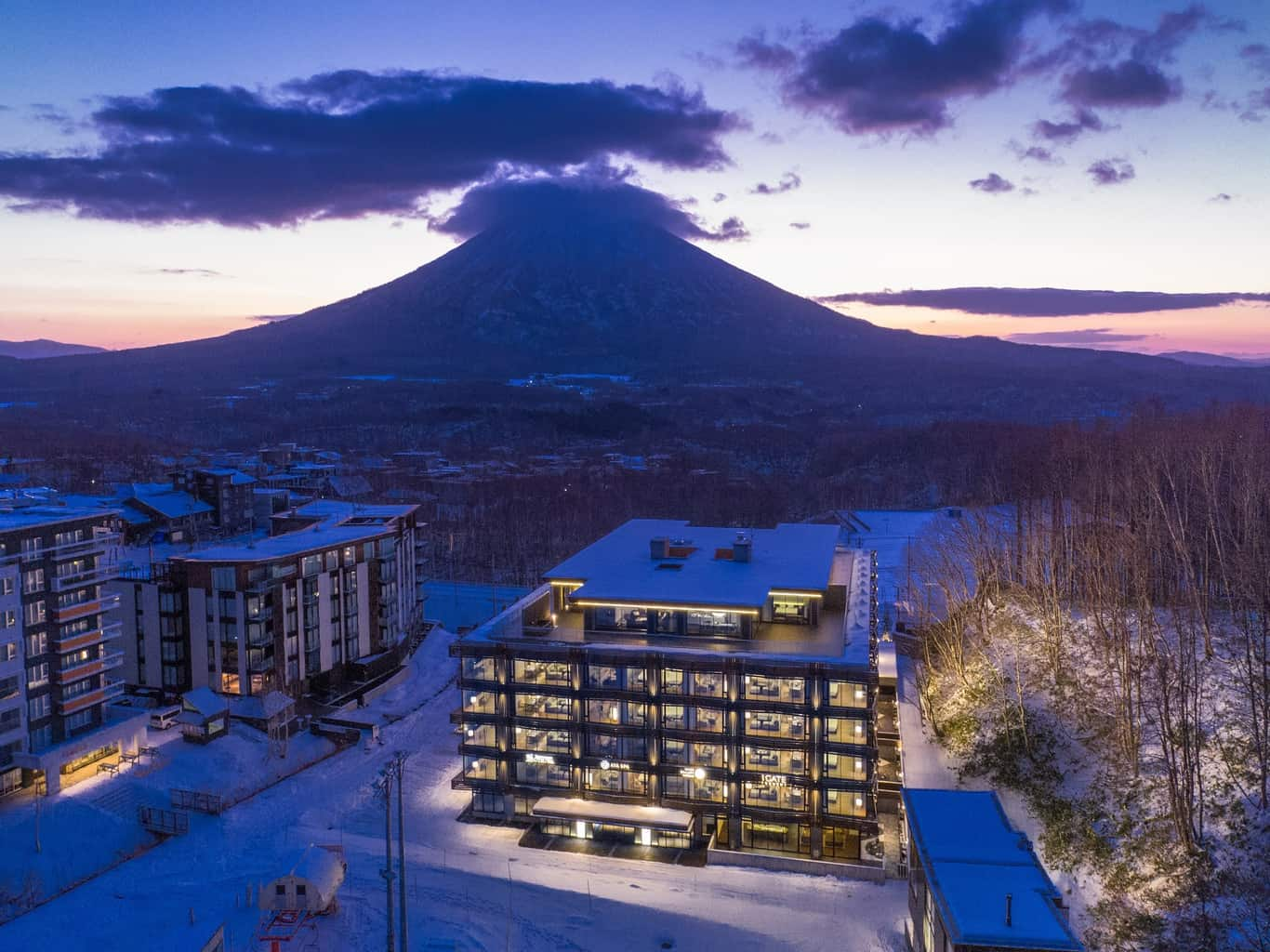View over Aya Niseko at sunset wit Mount Yotei